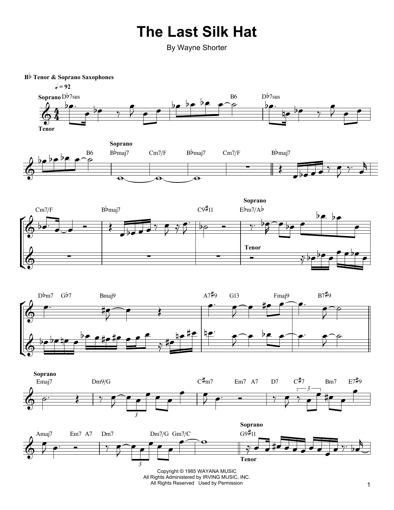 The Last Silk Hat Sheet Music