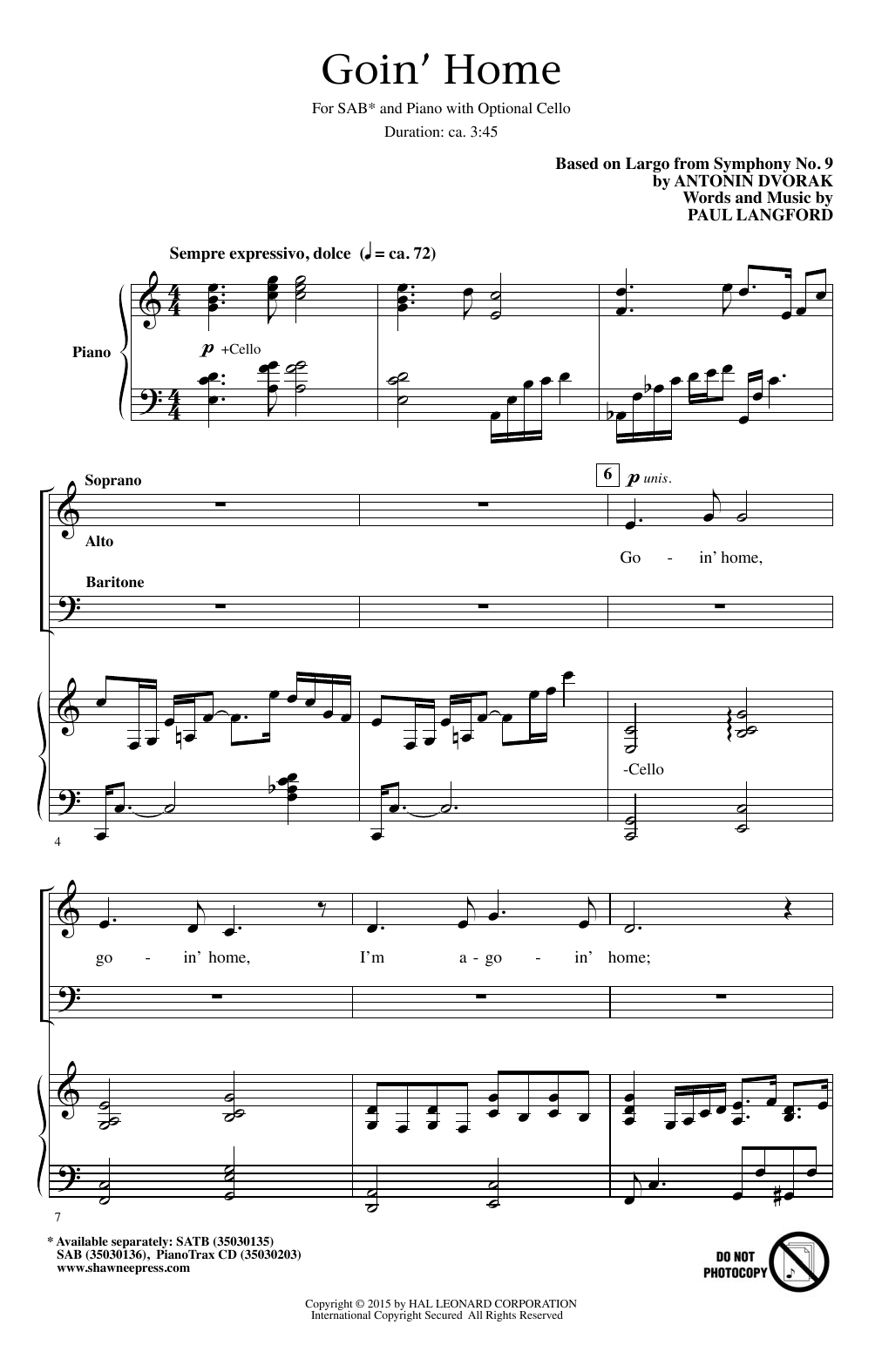 Goin' Home Sheet Music