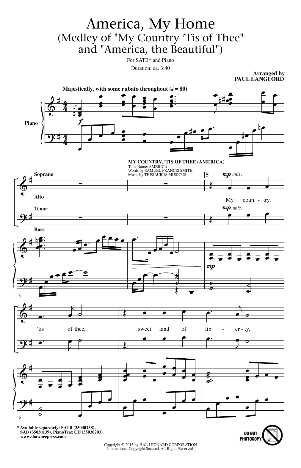 My Country, 'Tis Of Thee (America) (arr. Paul Langford) Sheet Music