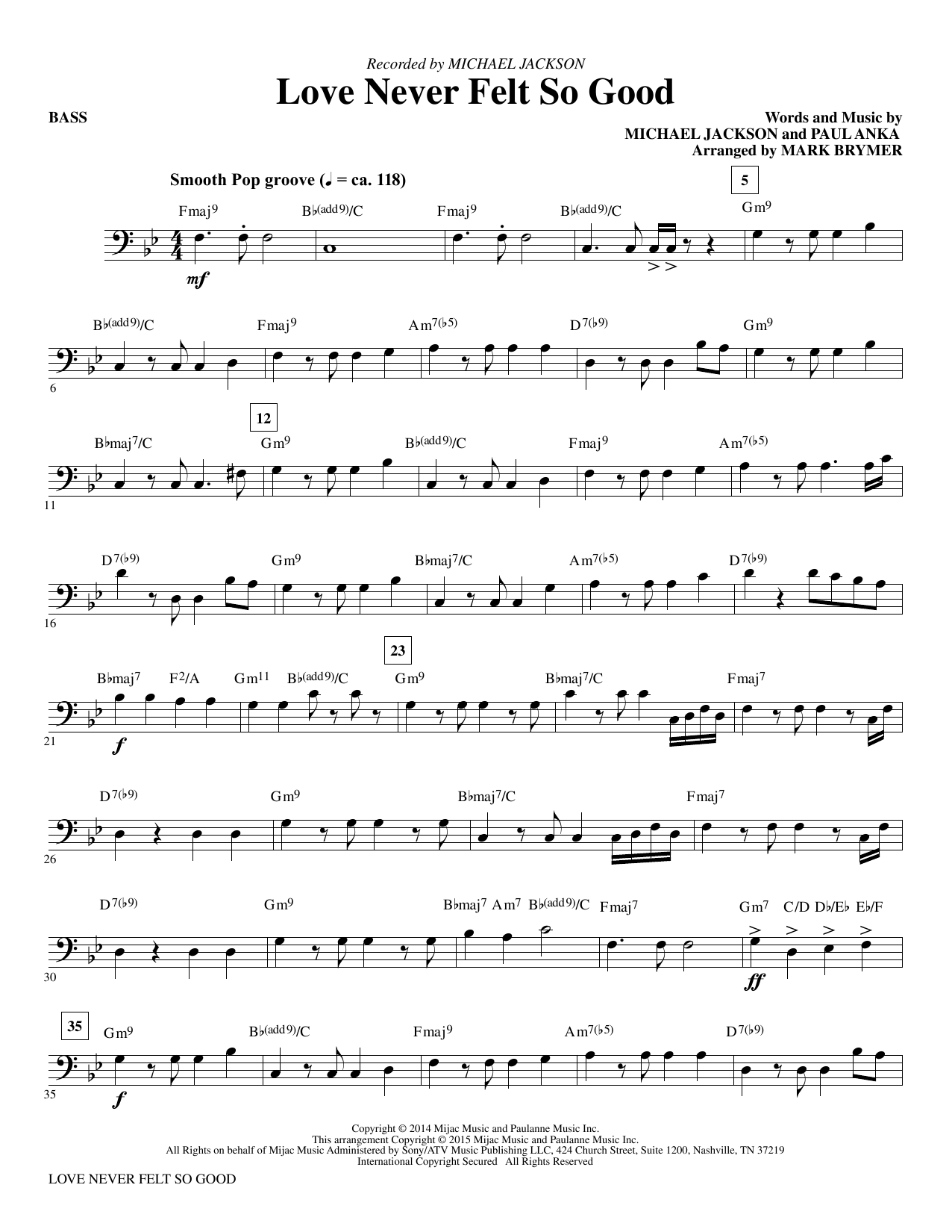 Love Never Felt So Good - Bass Sheet Music