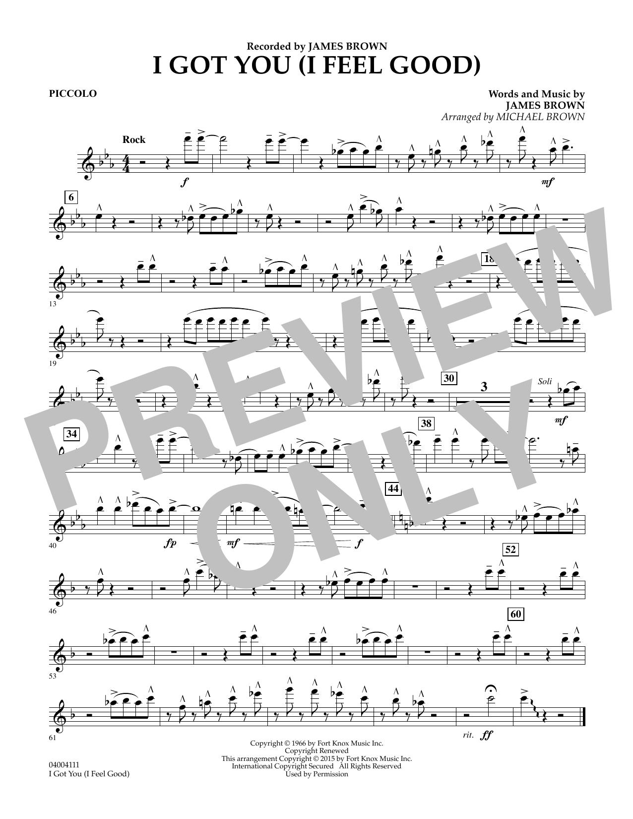 I Got You (I Feel Good) - Piccolo (Concert Band)
