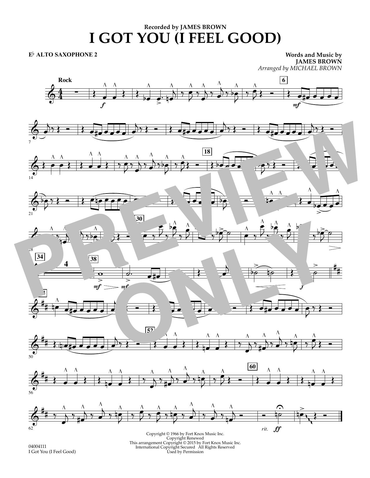 I Got You (I Feel Good) - Eb Alto Saxophone 2 (Concert Band)