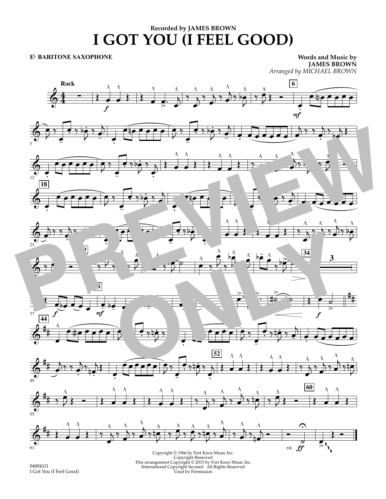 I Got You (I Feel Good) - Eb Baritone Saxophone (Concert Band)