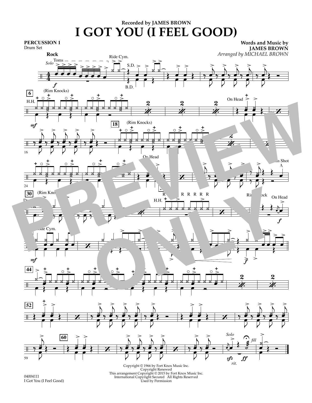 I Got You (I Feel Good) - Percussion 1 (Concert Band)