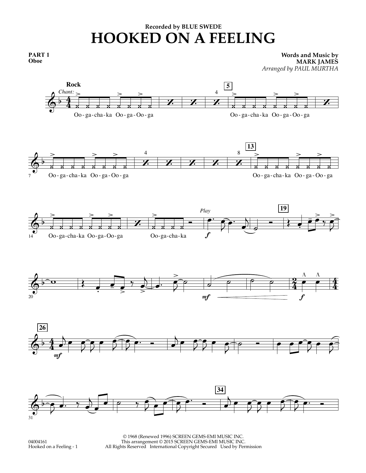 Hooked On A Feeling - Pt.1 - Oboe (Flex-Band)