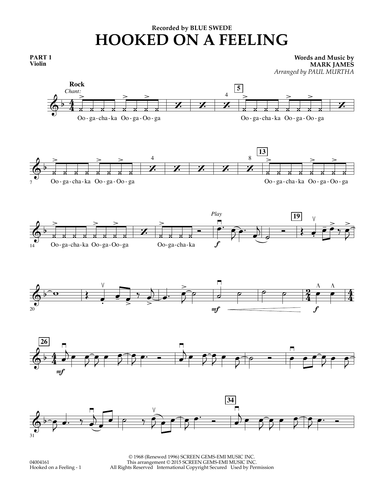 Hooked On A Feeling - Pt.1 - Violin (Flex-Band)
