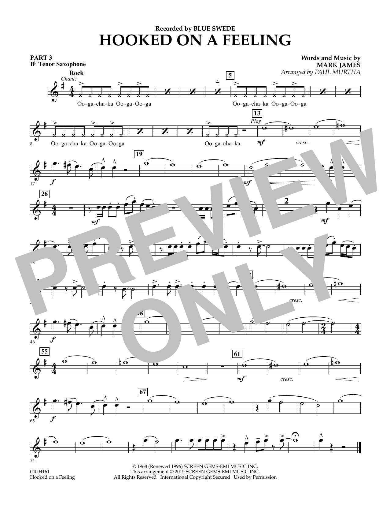 Hooked On A Feeling - Pt.3 - Bb Tenor Saxophone (Flex-Band)