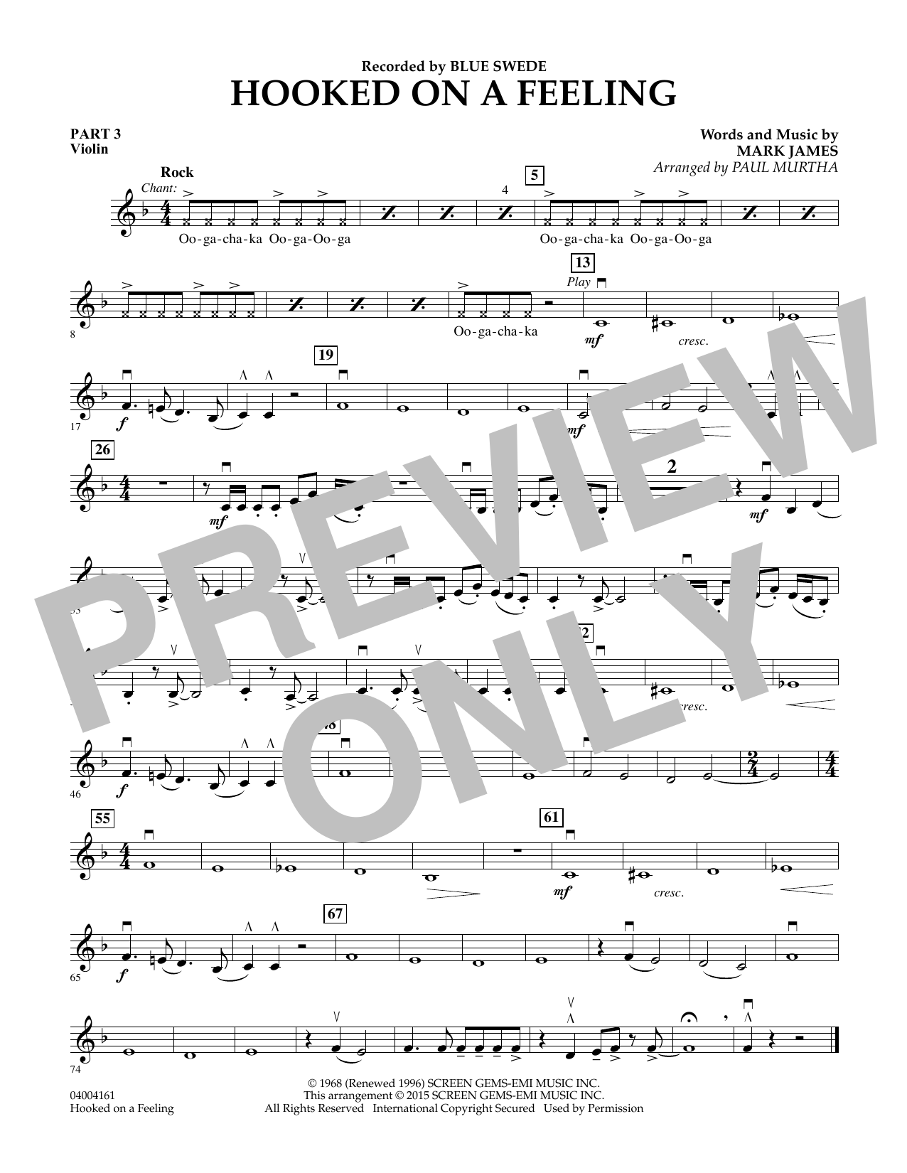 Hooked On A Feeling - Pt.3 - Violin (Flex-Band)