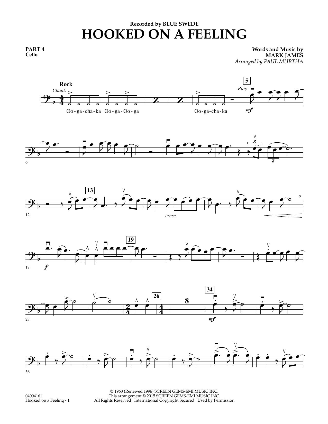 Hooked On A Feeling - Pt.4 - Cello (Flex-Band)
