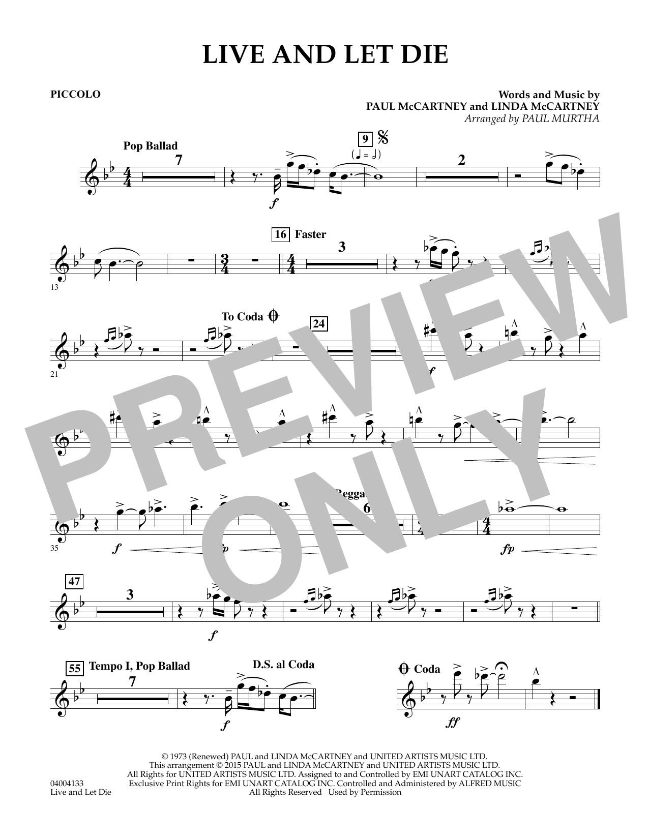 Live and Let Die - Piccolo (Concert Band)