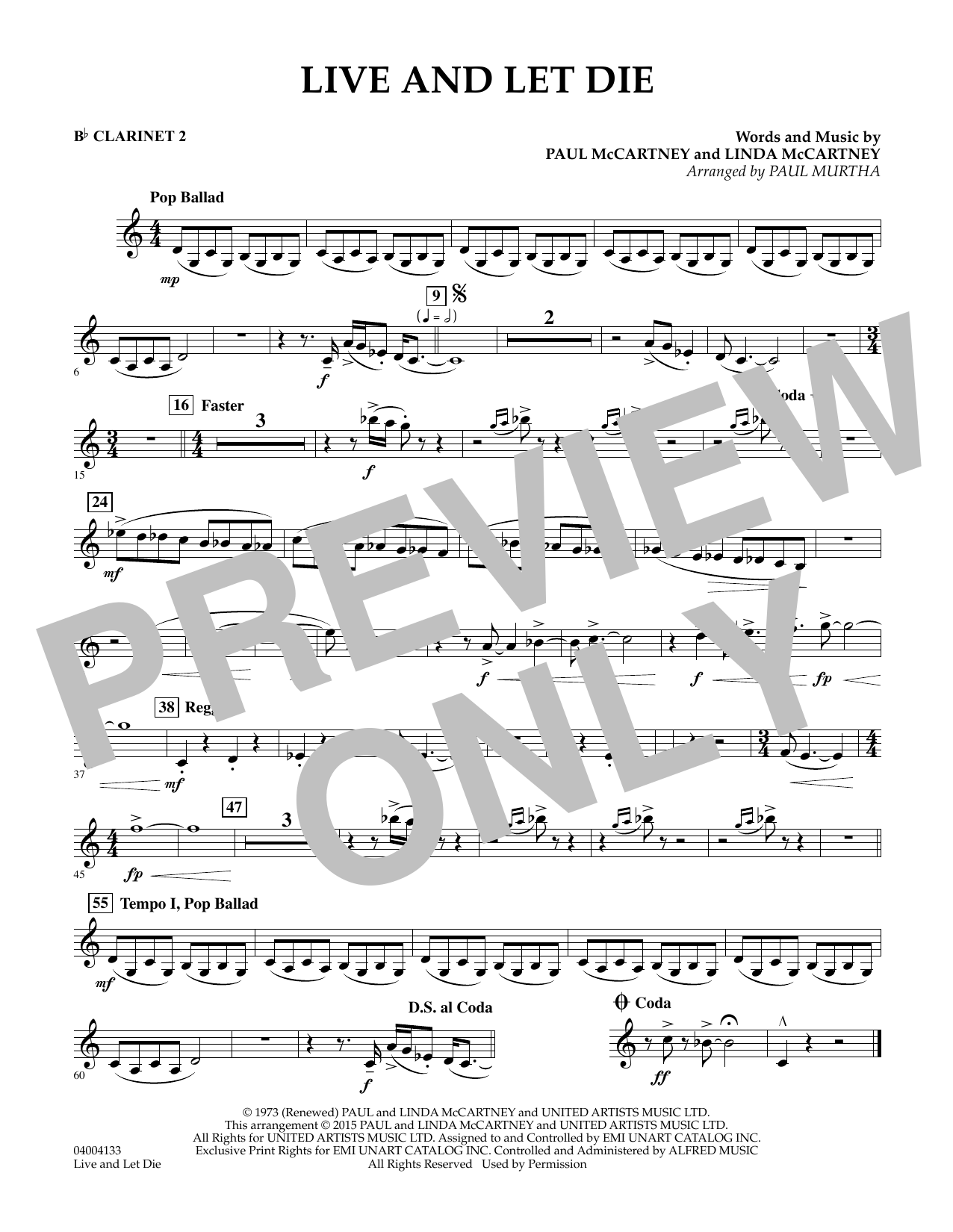 Live and Let Die - Bb Clarinet 2 (Concert Band)