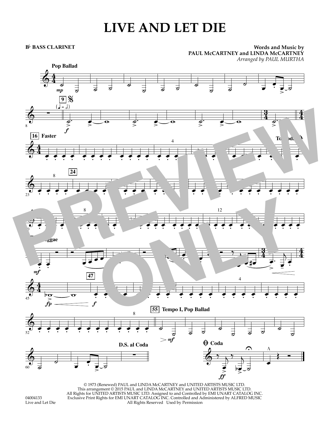 page one of Live and Let Die - Bb Bass ClarinetASALTTEXT