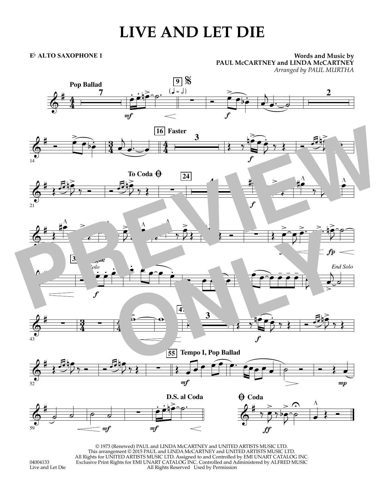 Live and Let Die - Eb Alto Saxophone 1 (Concert Band)