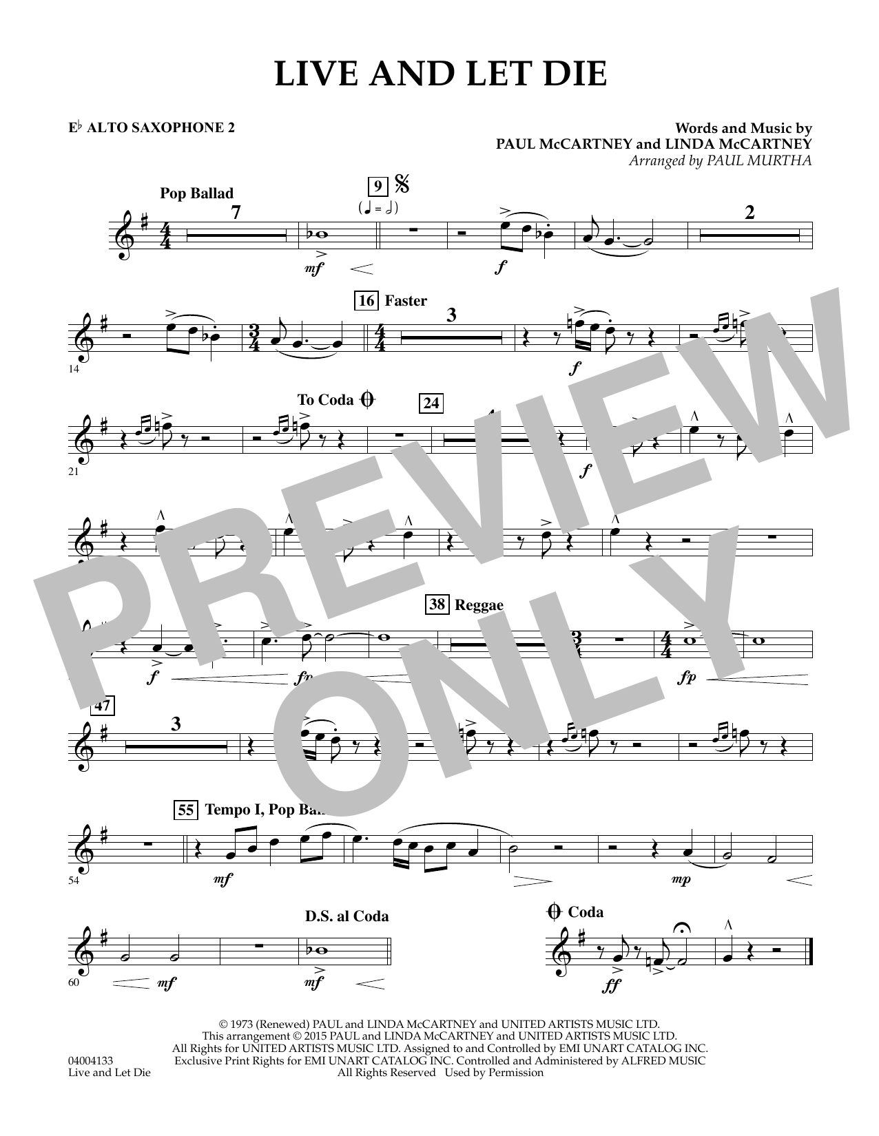 Live and Let Die - Eb Alto Saxophone 2 (Concert Band)