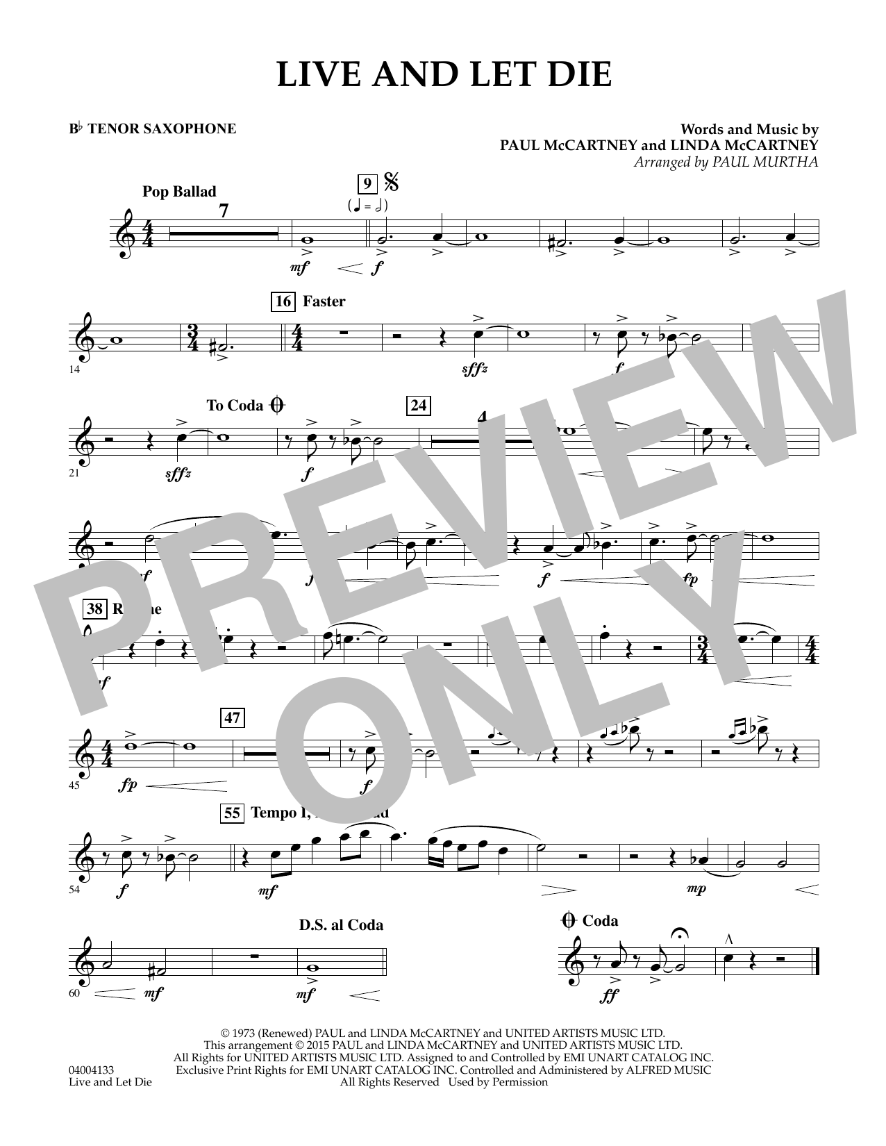 Live and Let Die - Bb Tenor Saxophone (Concert Band)