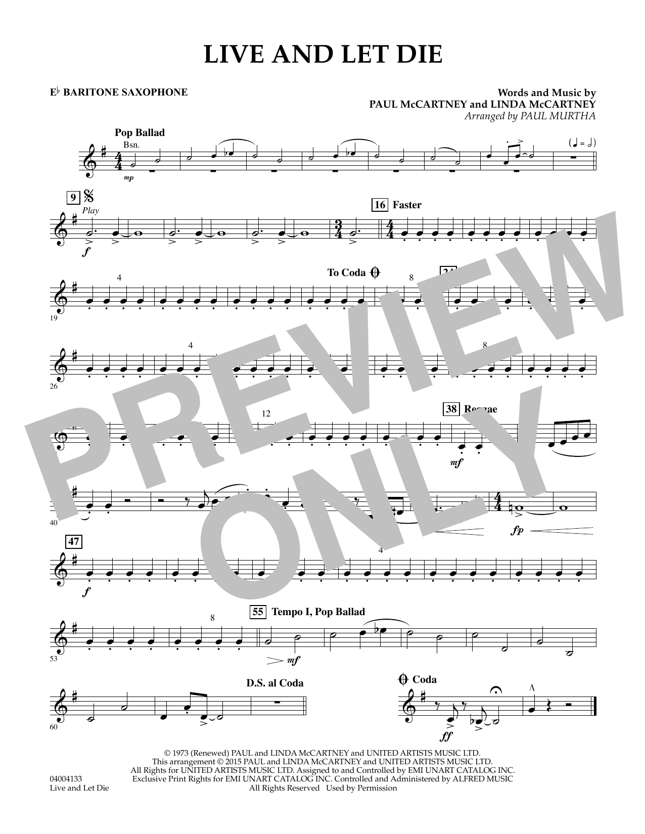 Live and Let Die - Eb Baritone Saxophone (Concert Band)