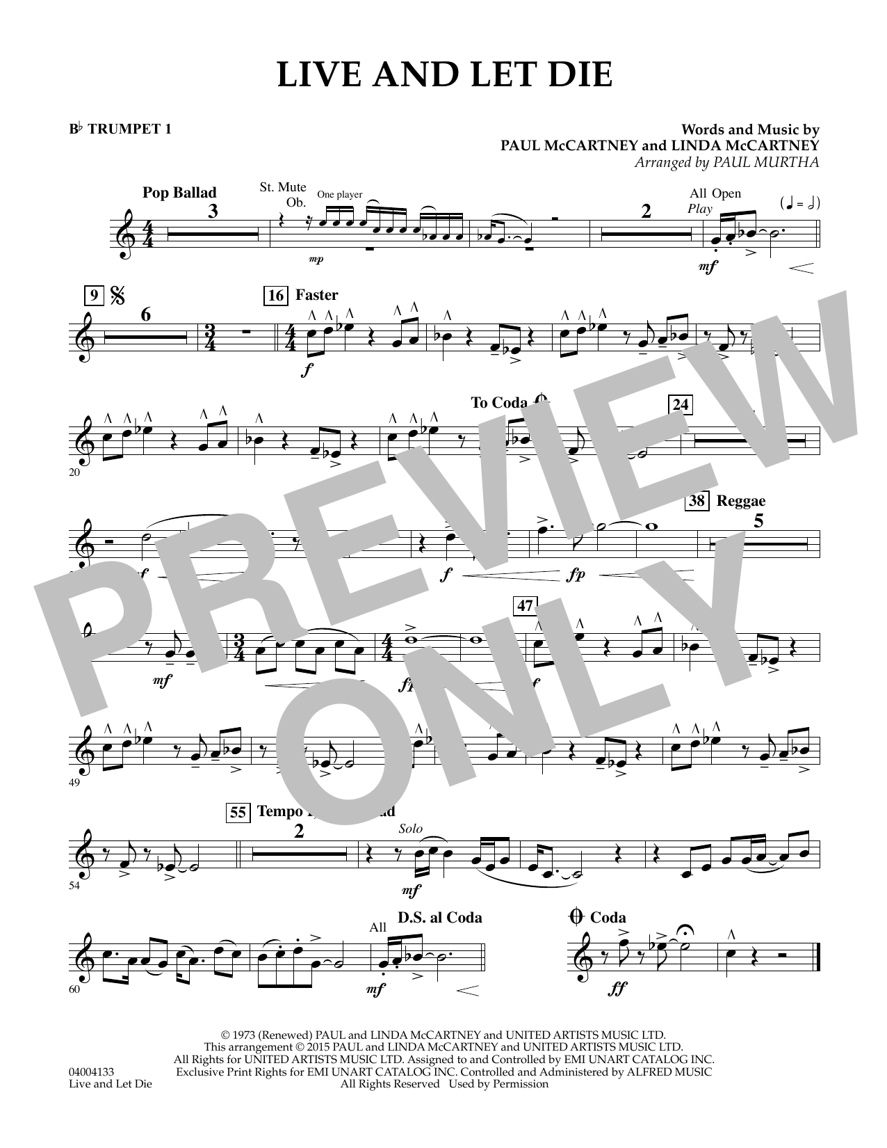 page one of Live and Let Die - Bb Trumpet 1ASALTTEXT