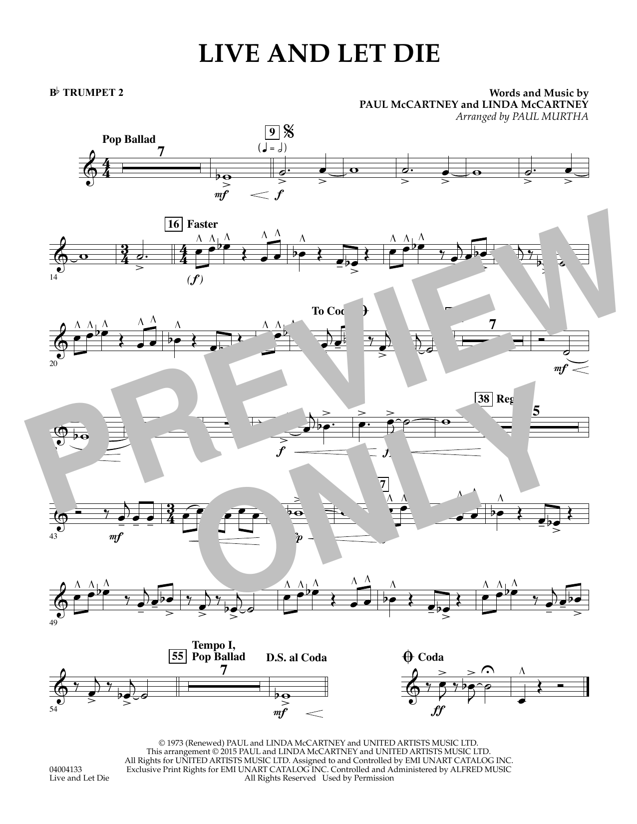 Live and Let Die - Bb Trumpet 2 (Concert Band)