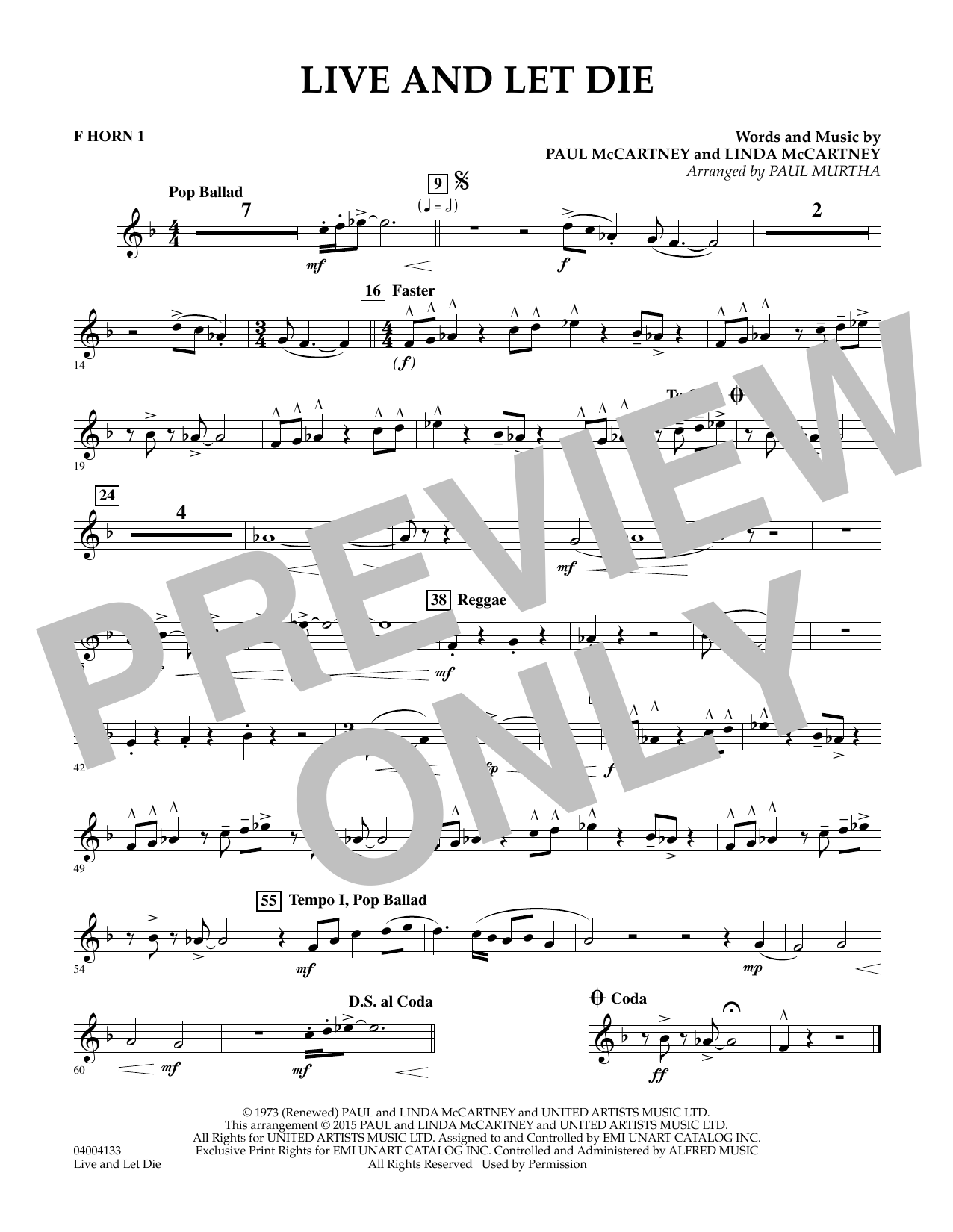 Live and Let Die - F Horn 1 (Concert Band)