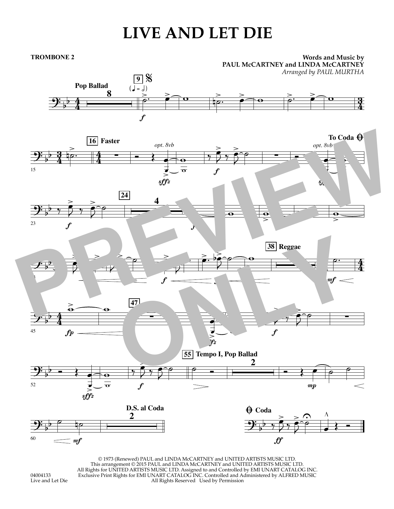 page one of Live and Let Die - Trombone 2ASALTTEXT