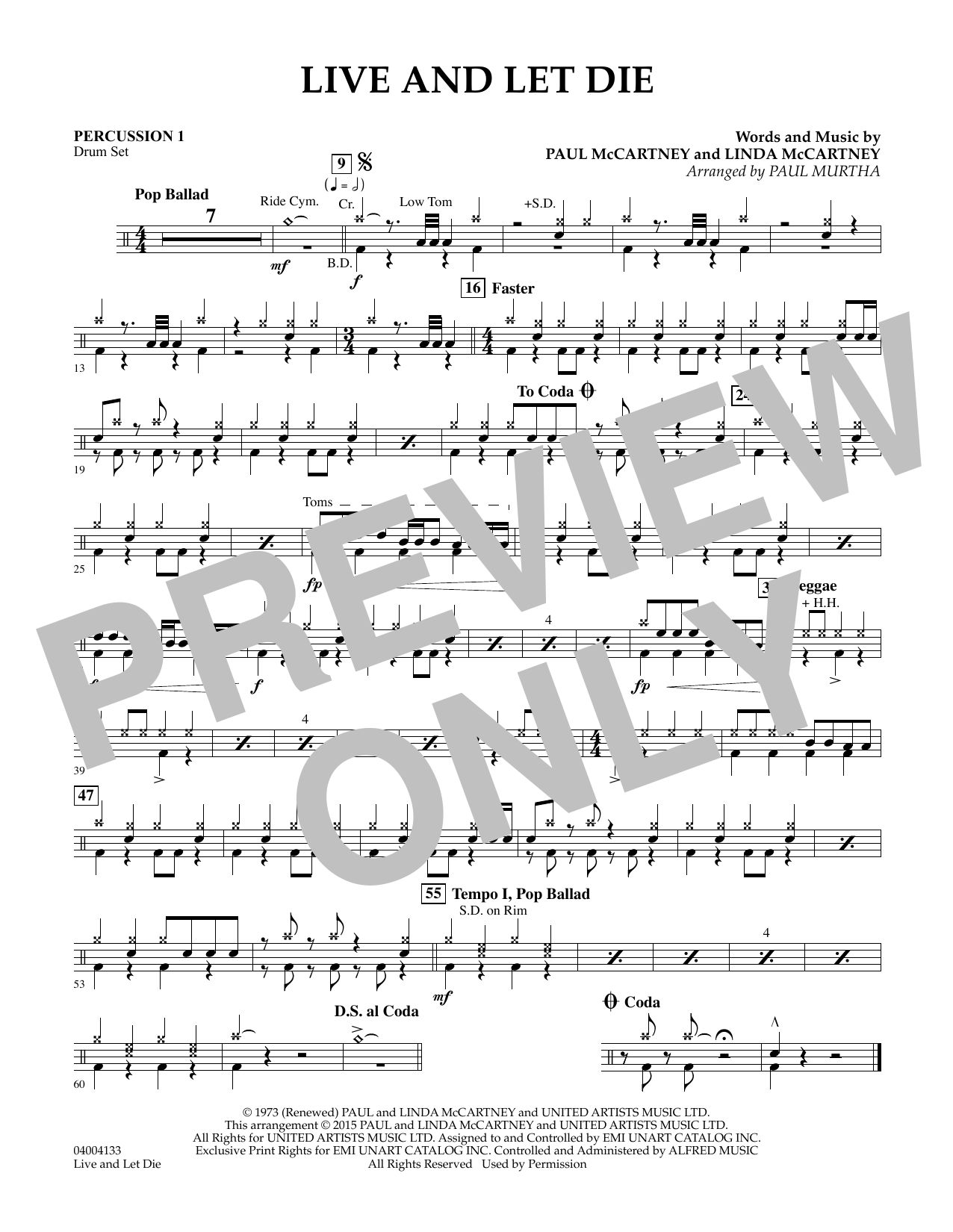 Live and Let Die - Percussion 1 (Concert Band)
