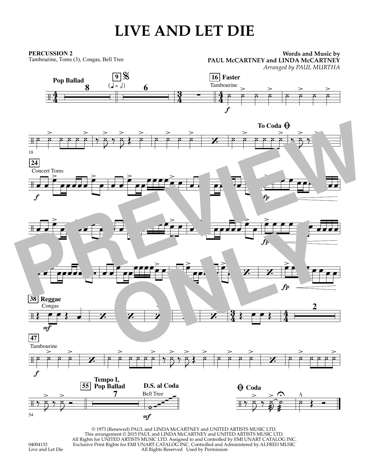 Live and Let Die - Percussion 2 (Concert Band)