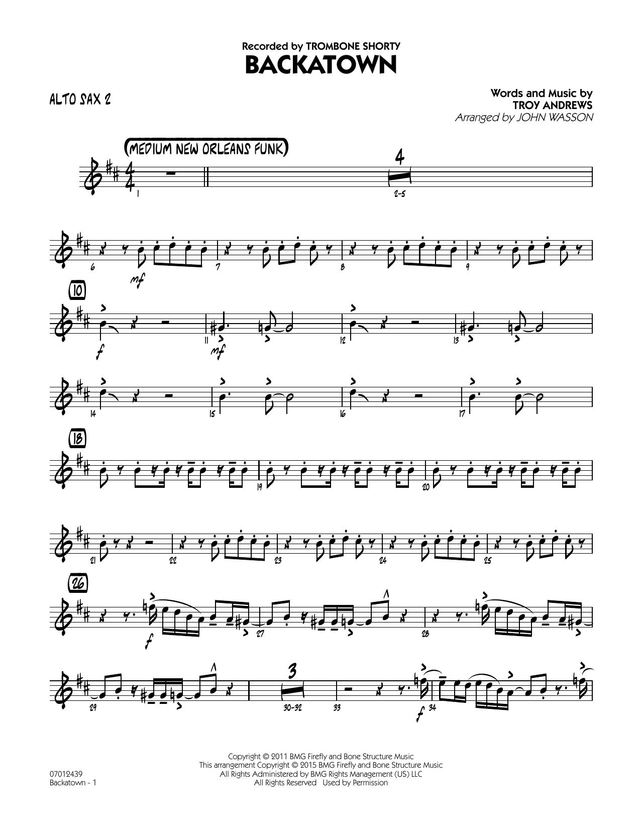 Backatown - Alto Sax 2 (Jazz Ensemble)