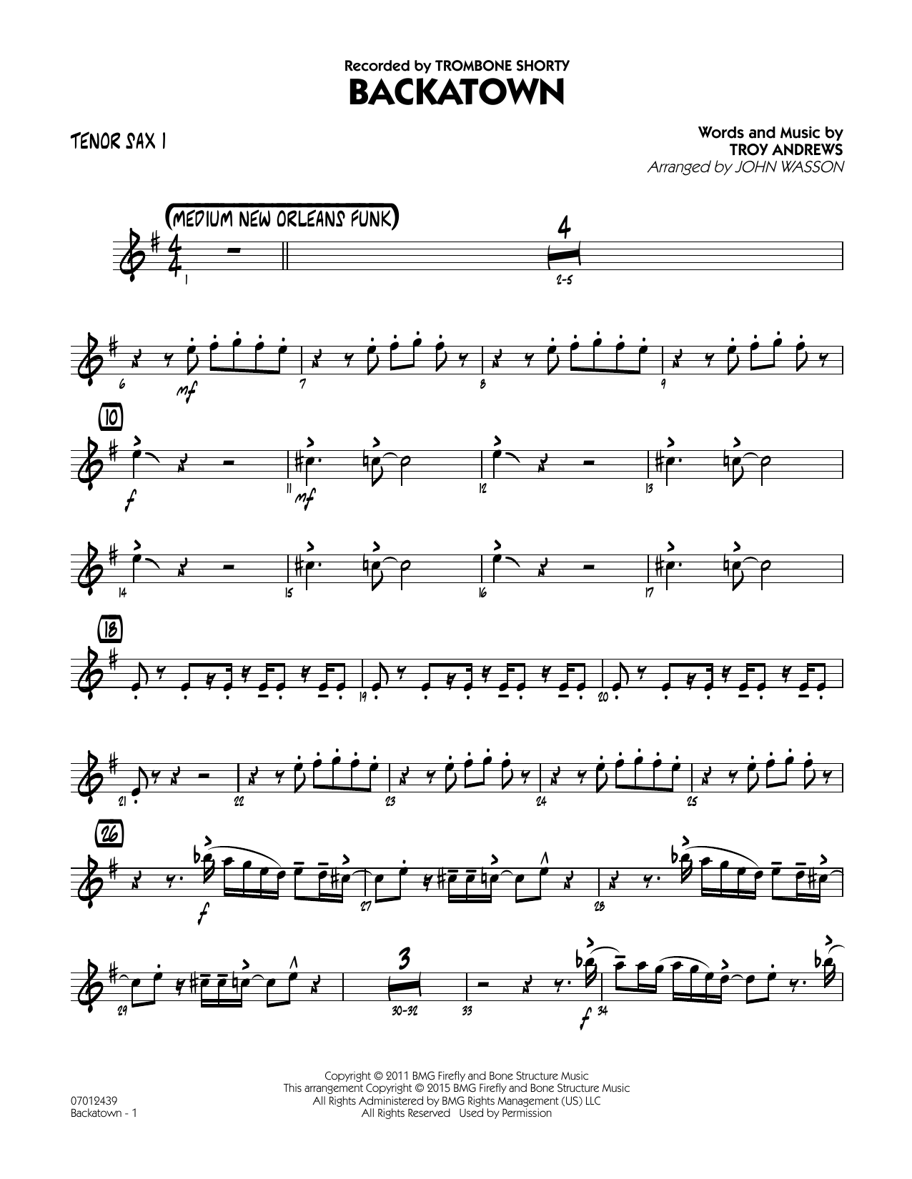 Backatown - Tenor Sax 1 (Jazz Ensemble)