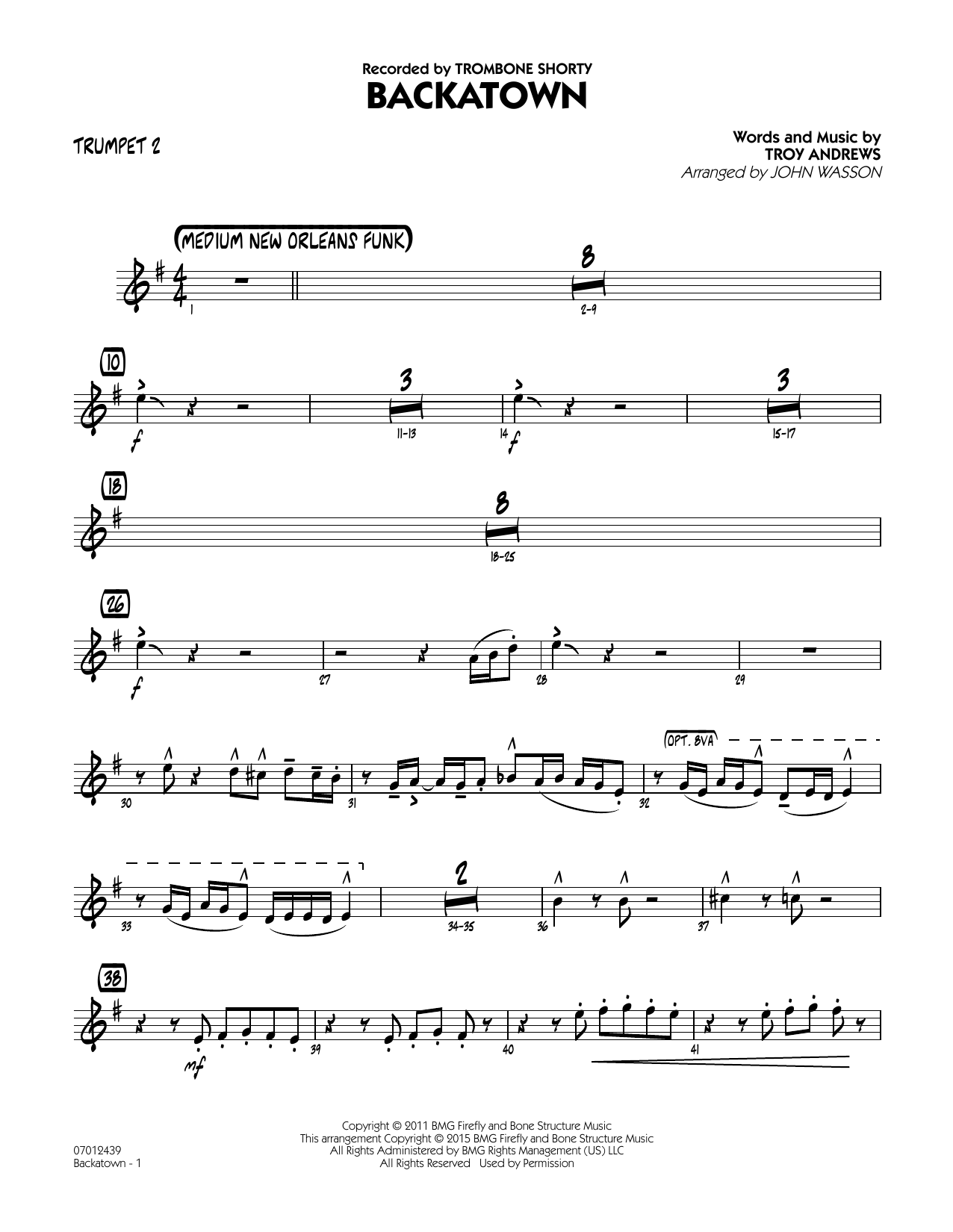 Backatown - Trumpet 2 (Jazz Ensemble)