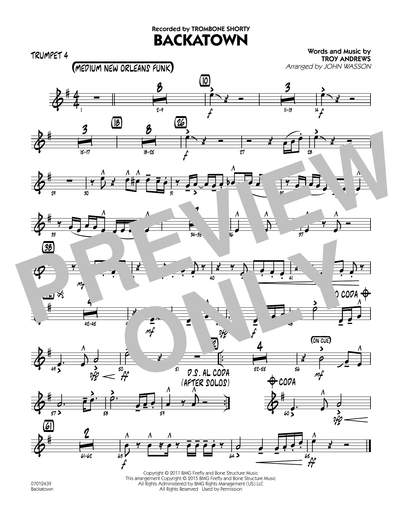 Backatown - Trumpet 4 (Jazz Ensemble)