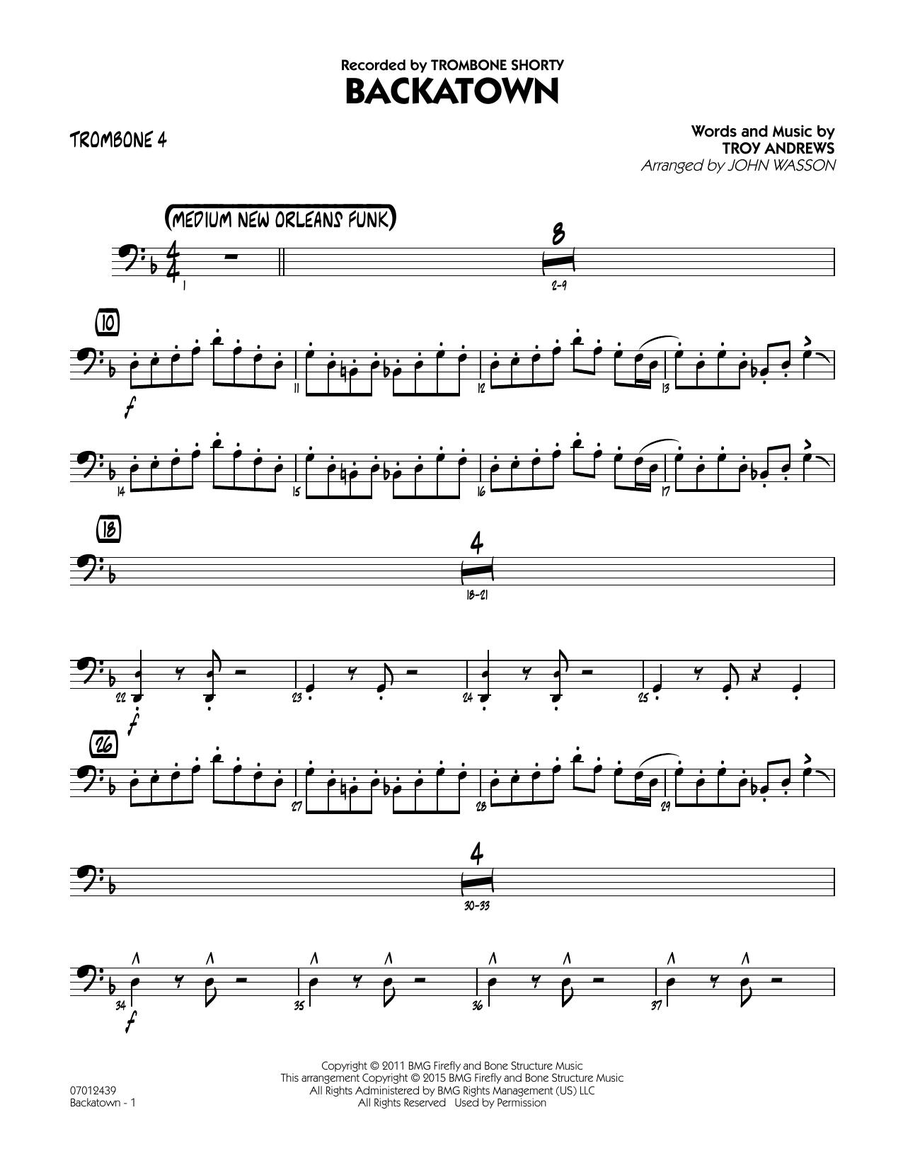 Backatown - Trombone 4 (Jazz Ensemble)