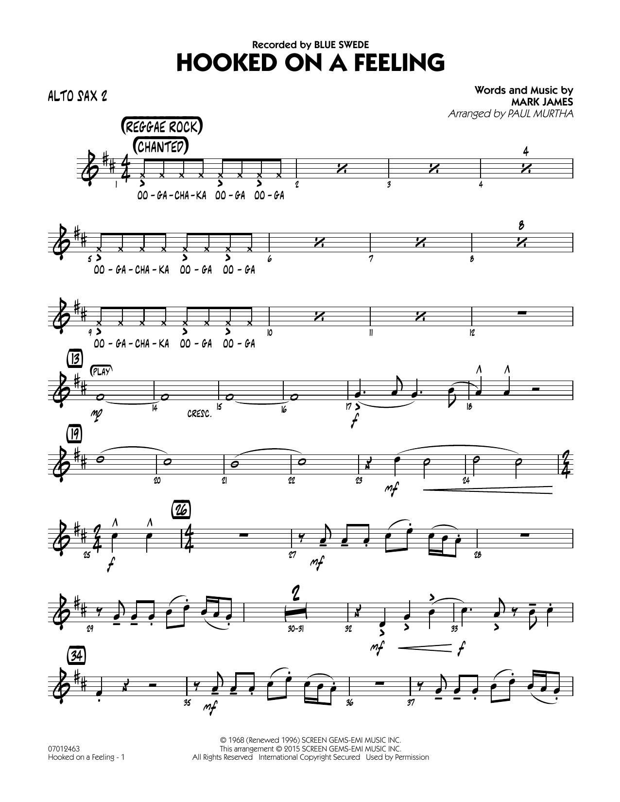 Hooked On A Feeling - Alto Sax 2 (Jazz Ensemble)