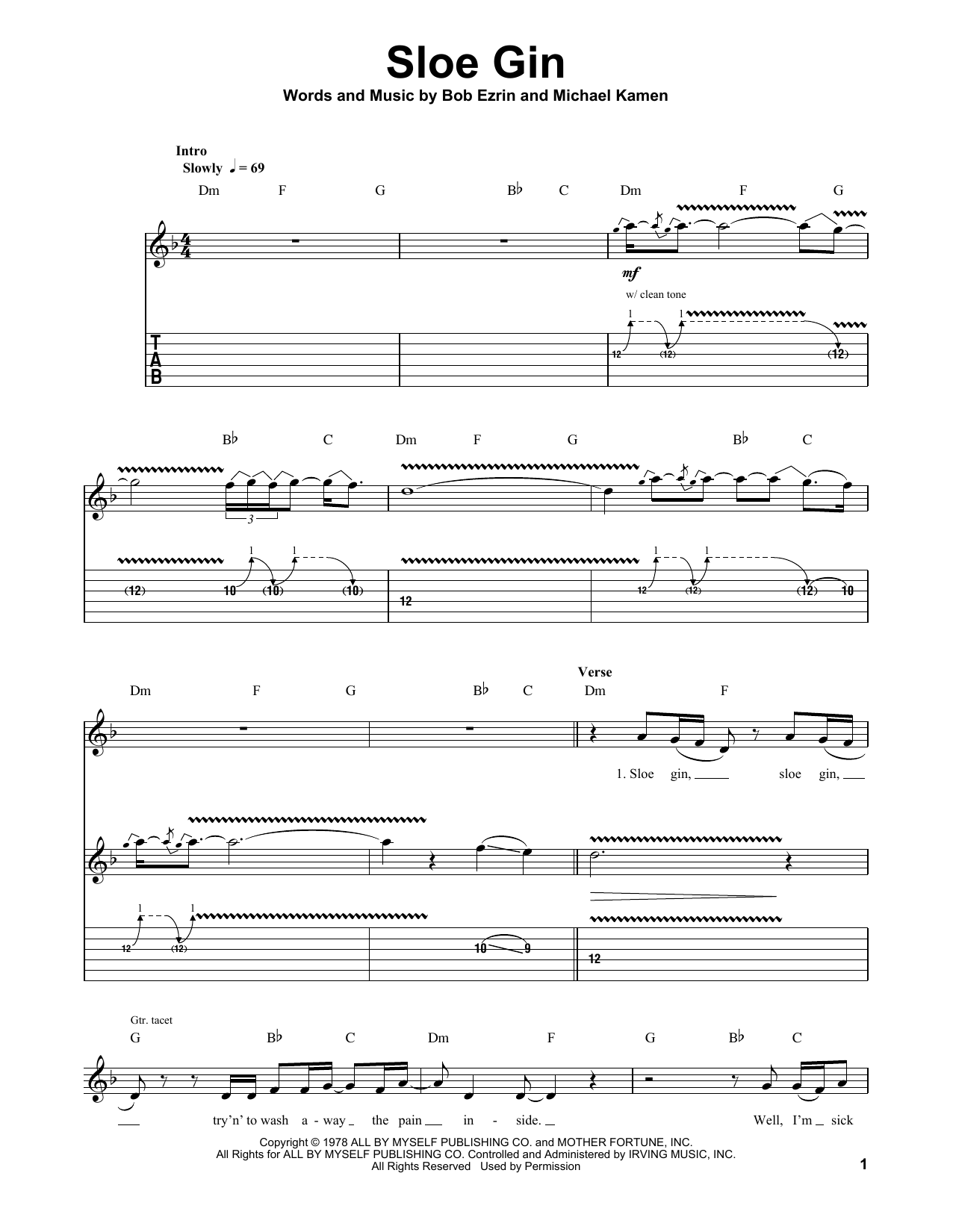 Sloe Gin (Guitar Tab (Single Guitar))