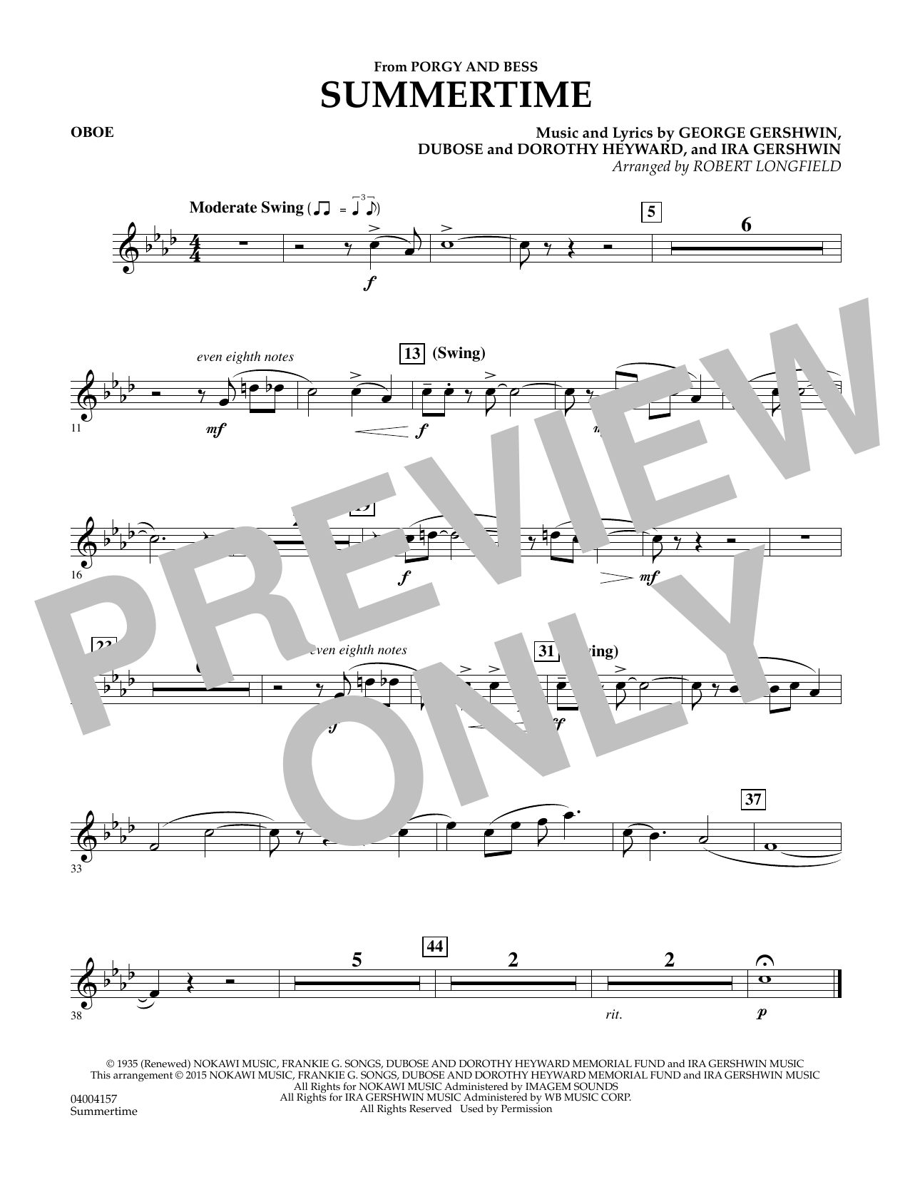 Summertime (from Porgy and Bess) - Oboe (Concert Band)