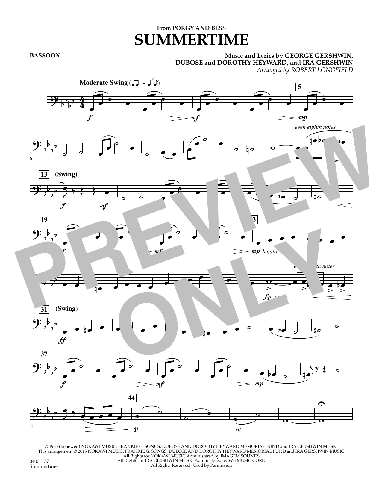 Summertime (from Porgy and Bess) - Bassoon (Concert Band)
