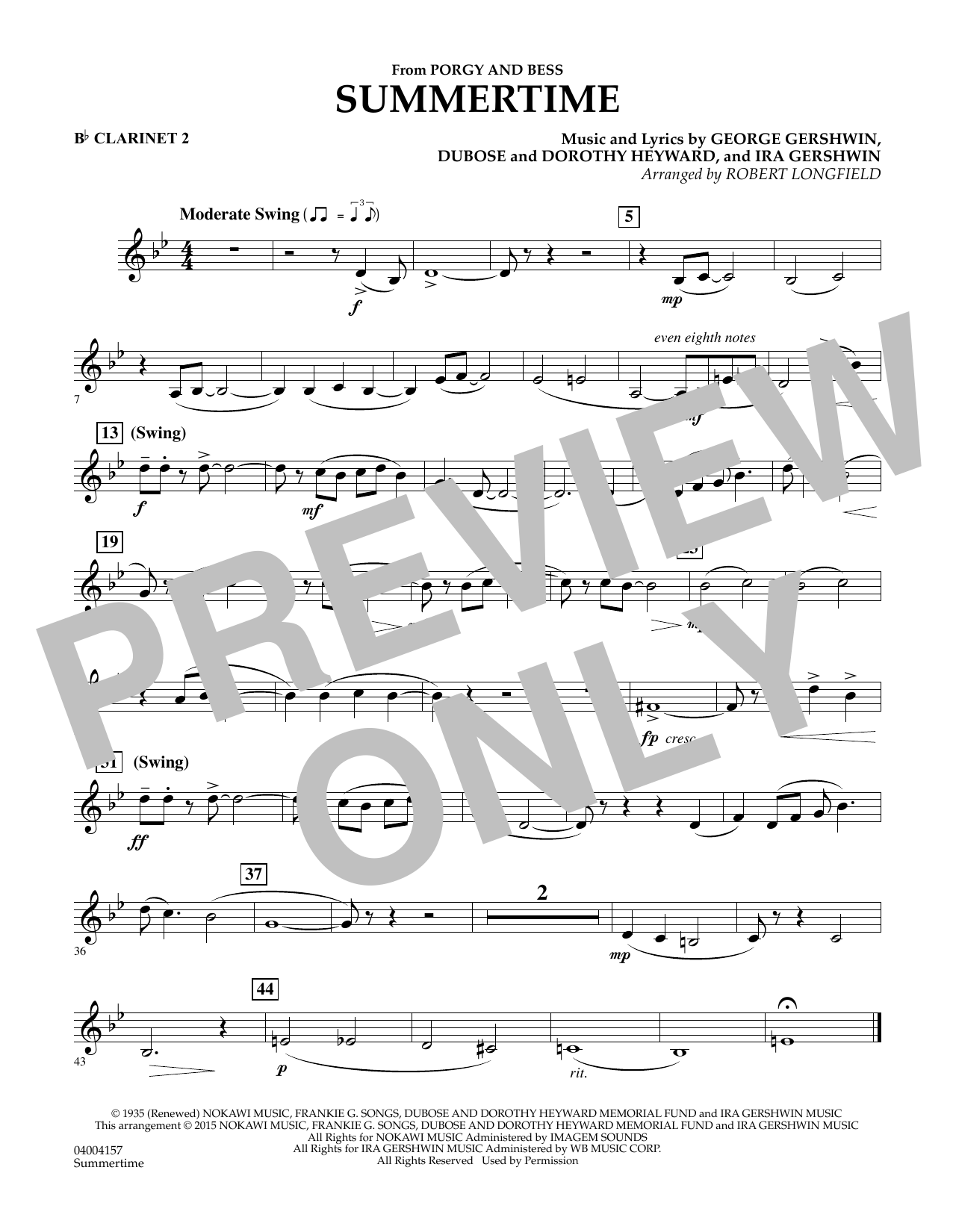 Summertime (from Porgy and Bess) - Bb Clarinet 2 (Concert Band)