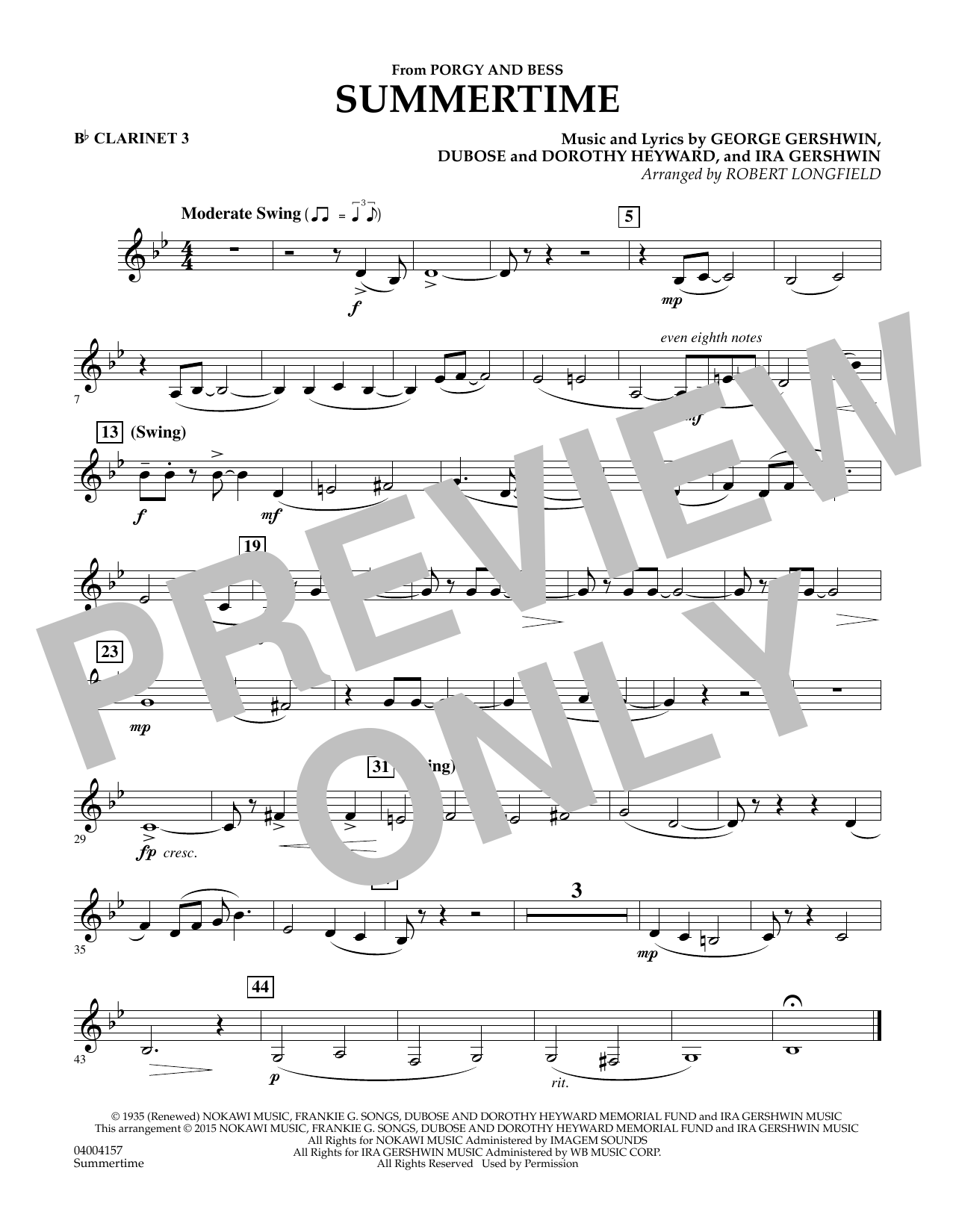 Summertime (from Porgy and Bess) - Bb Clarinet 3 (Concert Band)