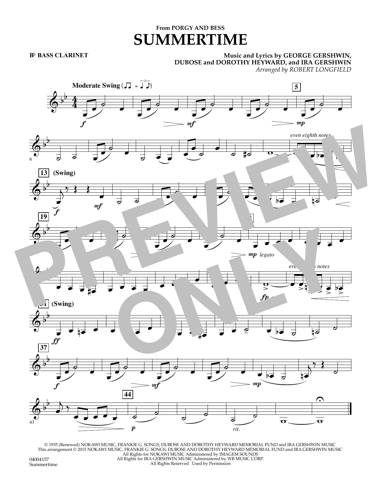 Summertime (from Porgy and Bess) - Bb Bass Clarinet (Concert Band)