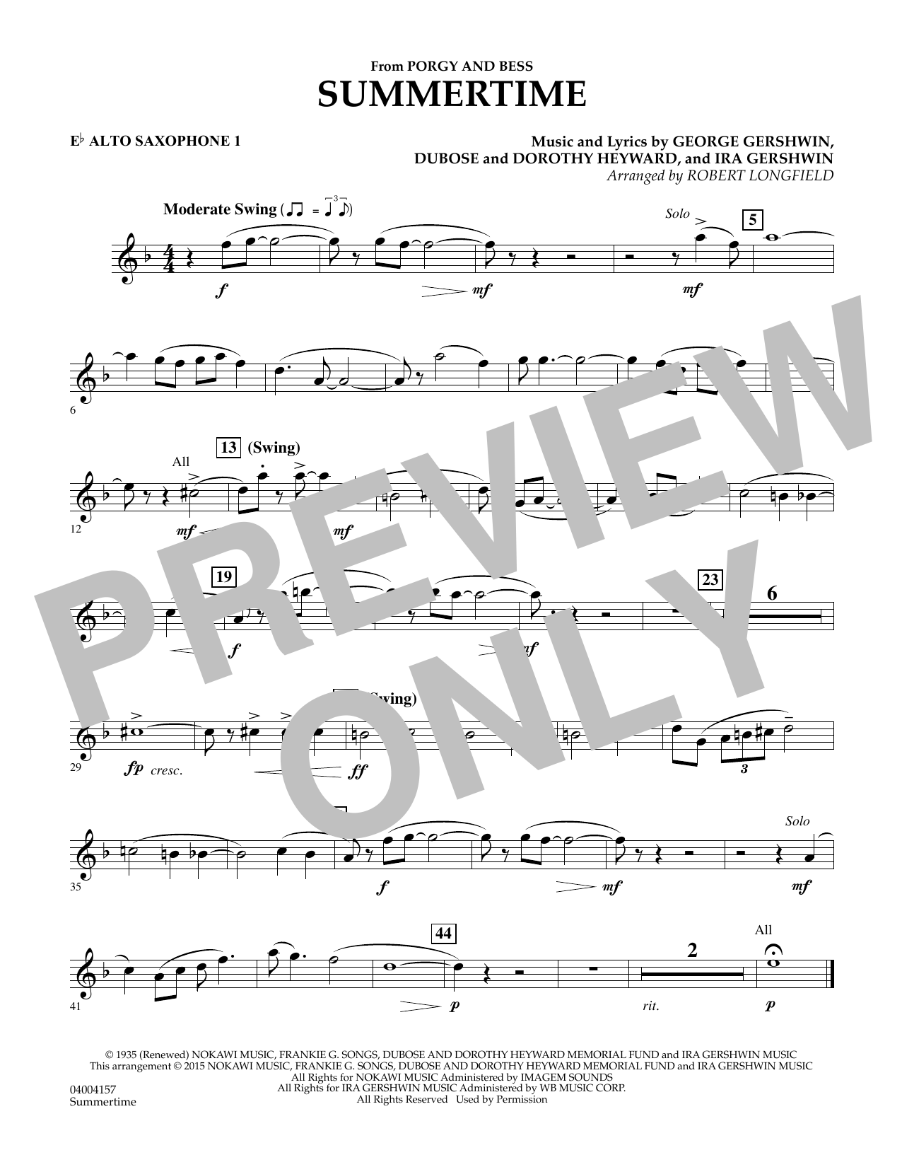 Summertime (from Porgy and Bess) - Eb Alto Saxophone 1 (Concert Band)