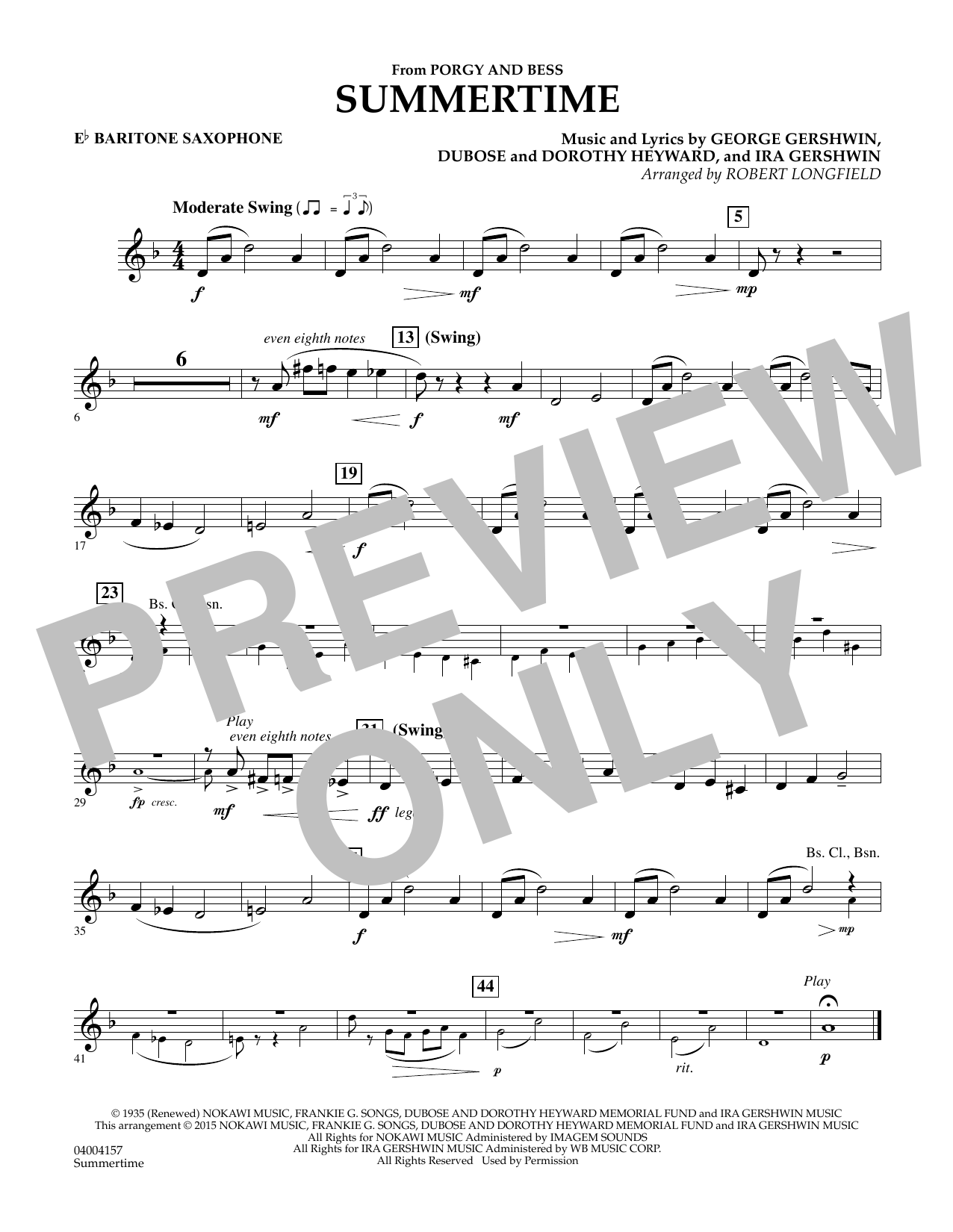 Summertime (from Porgy and Bess) - Eb Baritone Saxophone (Concert Band)