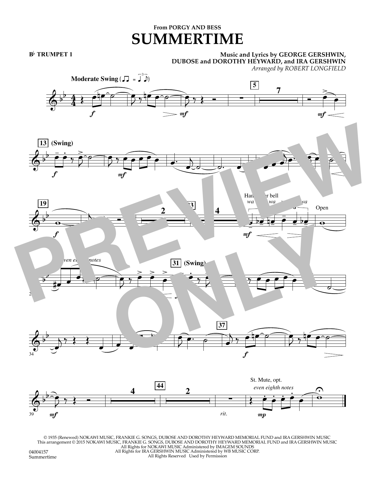 Summertime (from Porgy and Bess) - Bb Trumpet 1 (Concert Band)