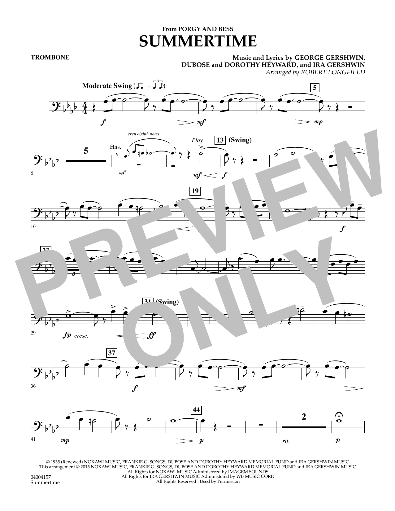 Summertime (from Porgy and Bess) - Trombone (Concert Band)