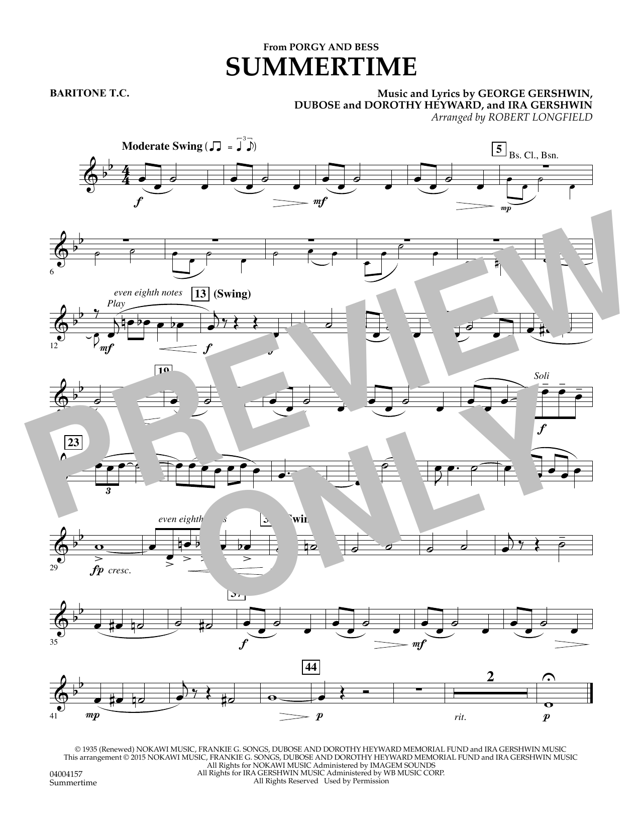 Summertime (from Porgy and Bess) - Baritone T.C. Sheet Music