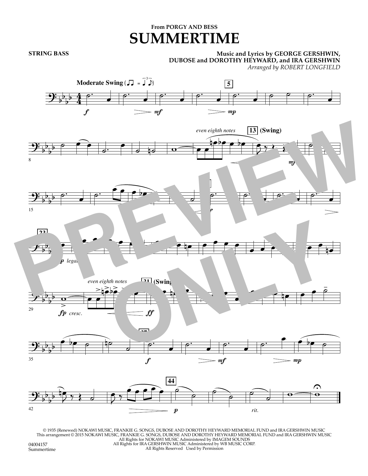 Summertime (from Porgy and Bess) - Bass (Concert Band)