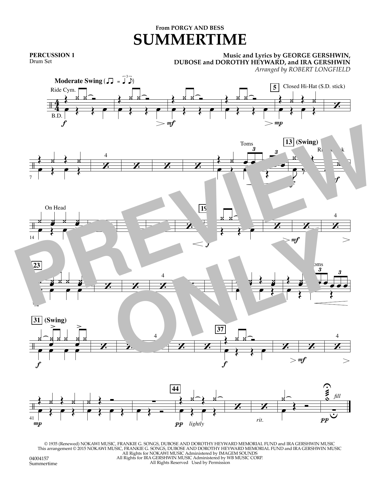 Summertime (from Porgy and Bess) - Percussion 1 (Concert Band)