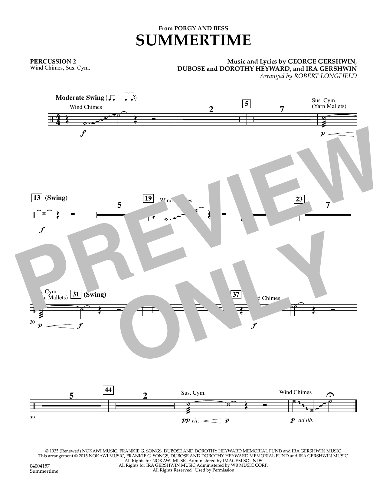 Summertime (from Porgy and Bess) - Percussion 2 (Concert Band)