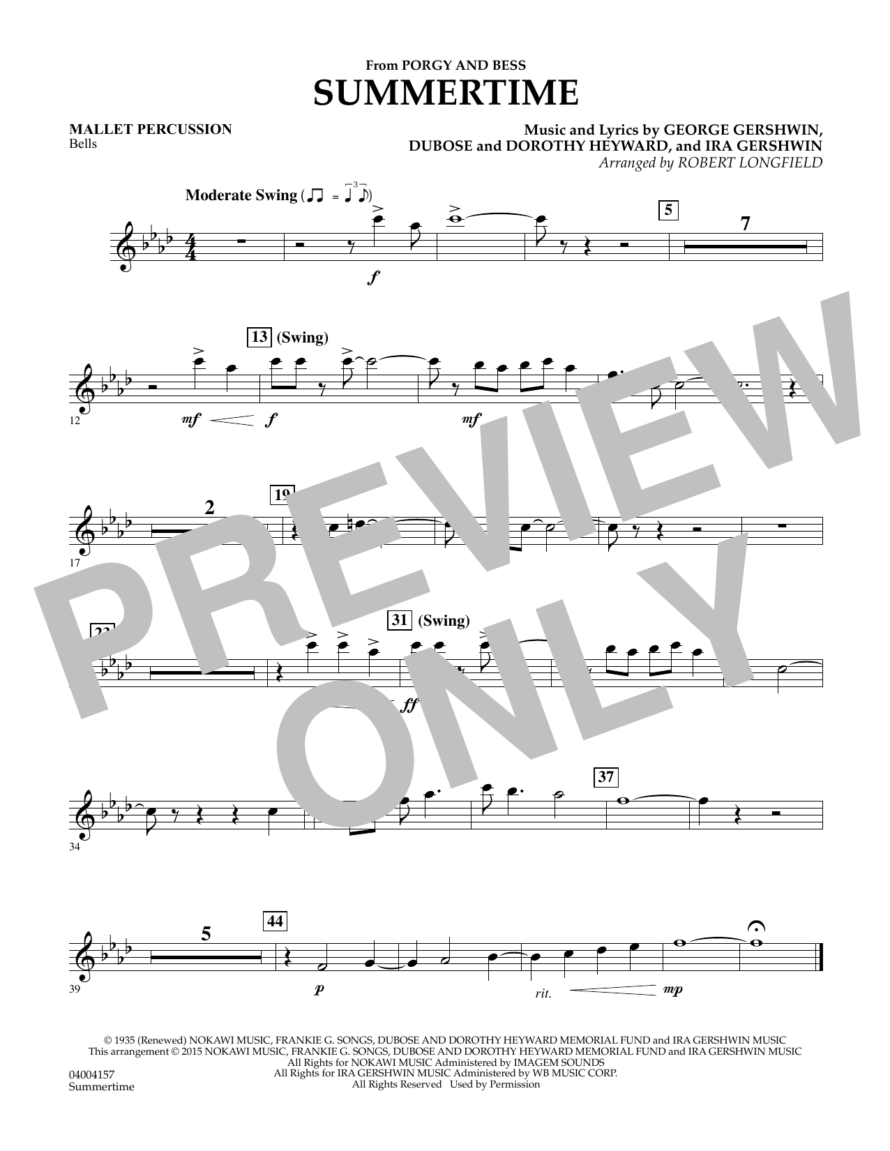 Summertime (from Porgy and Bess) - Mallet Percussion Sheet Music