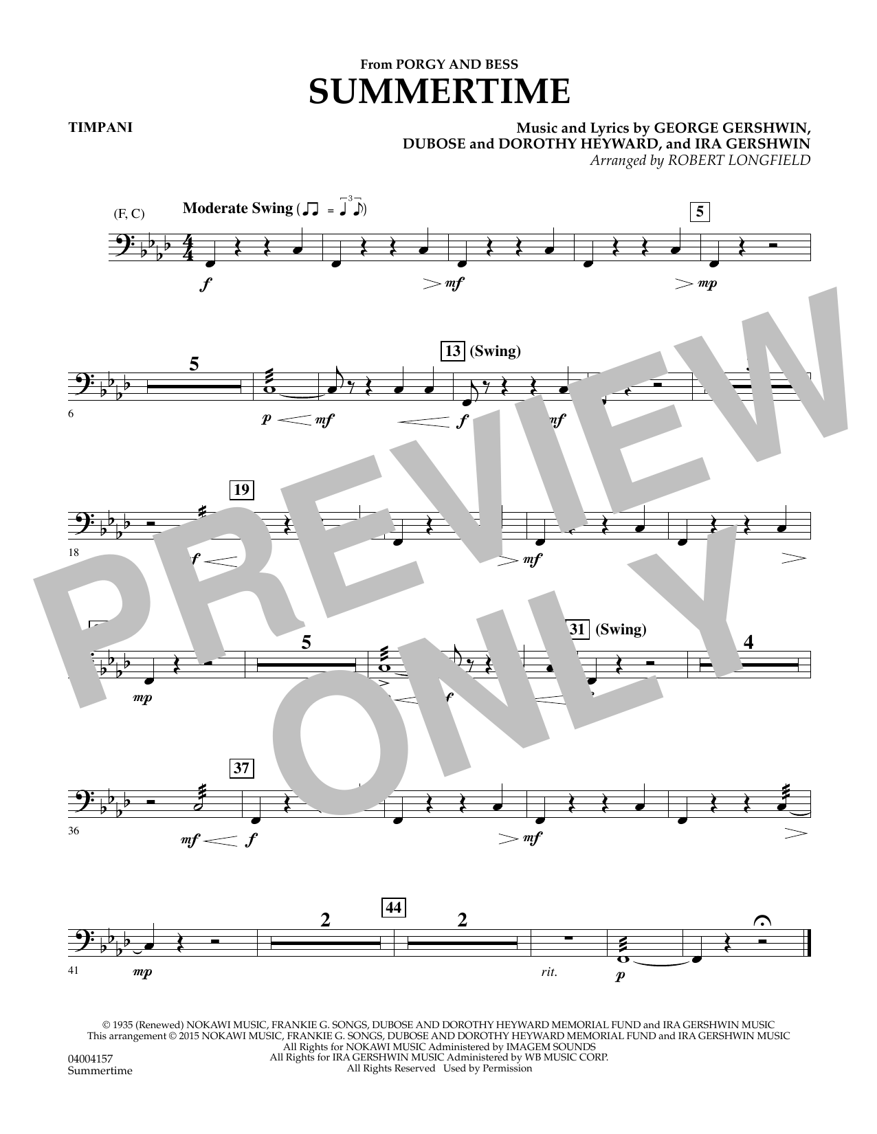Summertime (from Porgy and Bess) - Timpani (Concert Band)