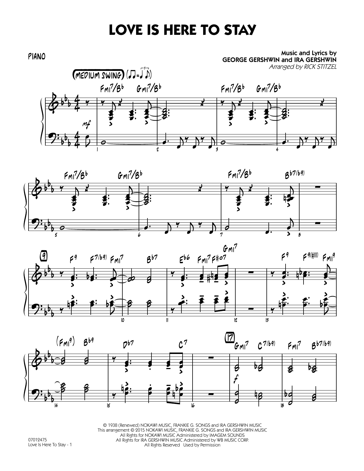 Love Is Here To Stay - Piano by Ira Gershwin, George Gershwin  George Gershwin