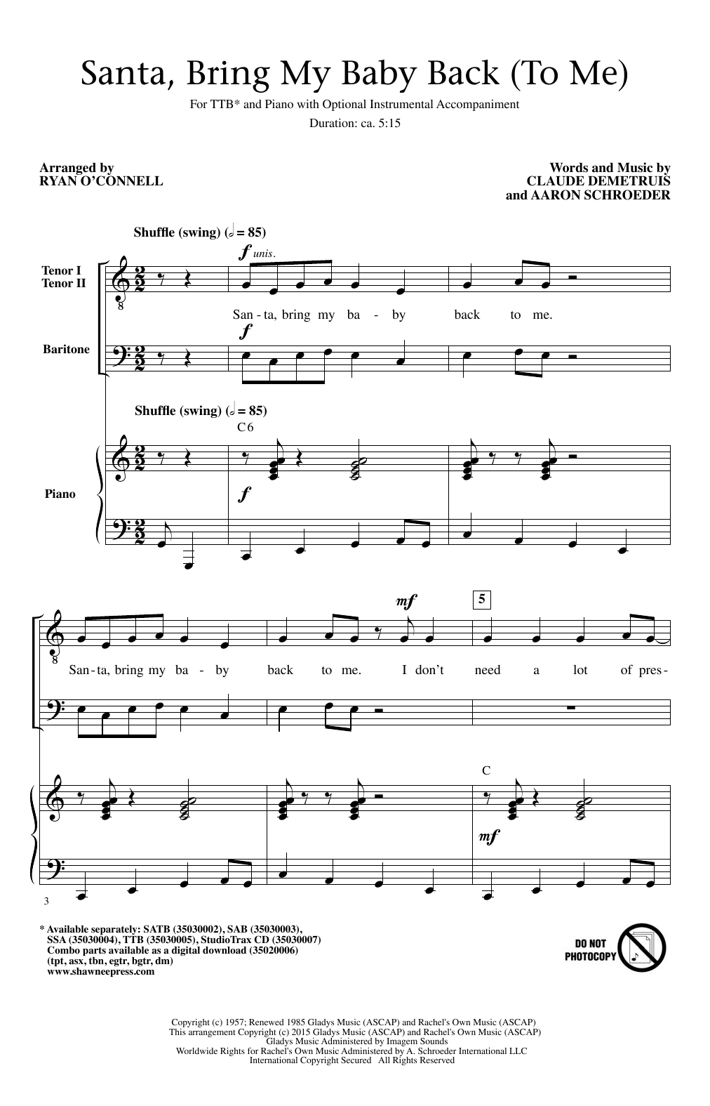 Santa, Bring My Baby Back (To Me) Sheet Music